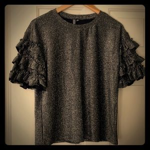 Design Lab sparkly grey top with ruffled sleeves